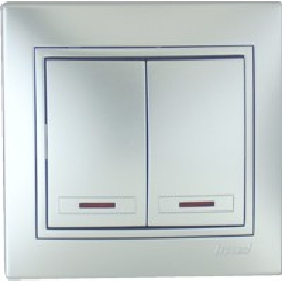 Выключатель двойной с подсветкой Lezard металик серый