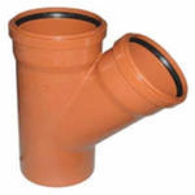 Тройник канализационный 200x110 мм 45°/90° наружный