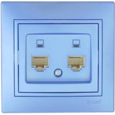 Розетка компьютерная двойная Lezard Mira металик синий