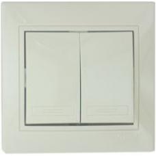 Выключатель Lezard Двойной металлик серый