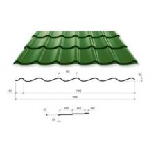 Металлочерепица VALENCIA 350/15 0,45*1195 PE (6005, производитель сырья Китай)