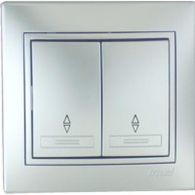 Выключатель проходной двойной Lezard металик серый