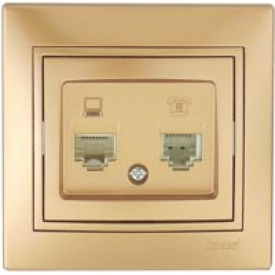 Розетка компьютер+телефон Lezard металик золото