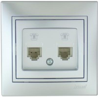 Розетка телефонная двойная (евро) Lezard Mira металик серый