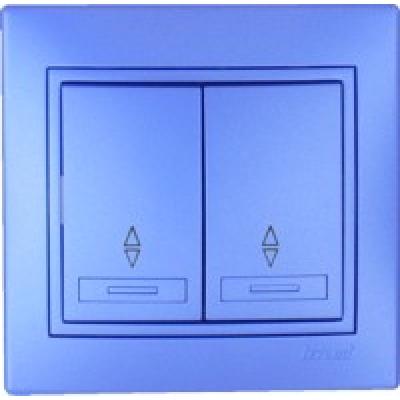 Выключатель проходной двойной Lezard металик синий