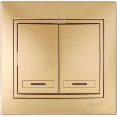Выключатель двойной с подсветкой Lezard металик золото