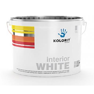 Водно-дисперсионная краска Kolorit Interior WHITE, 10 л