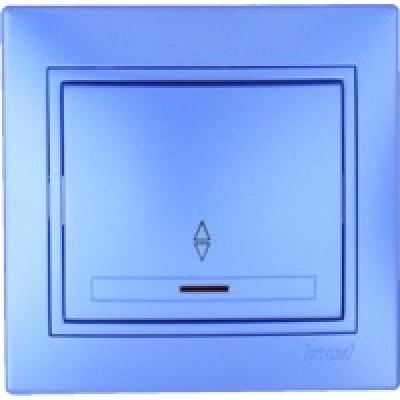 Выключатель проходной с подсветкой Lezard металик синий