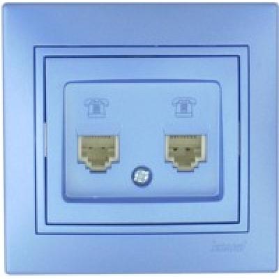 Розетка телефонная двойная (евро) Lezard Mira металик синий