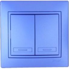 Выключатель  Lezard Двойной синий металлик