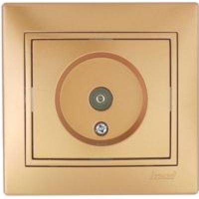 Розетка ТВ оконеченая Lezard Mira металик золото