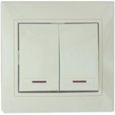 Выключатель двойной с подсветкой Lezard кремовый