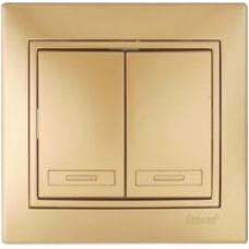 Выключатель  Lezard Двойной металлик золото