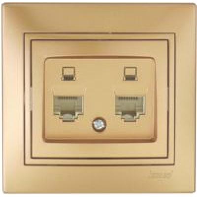 Розетка компьютерная двойная Lezard Mira металик золото