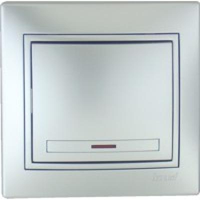 Выключатель с подсветкой Lezard металик серый