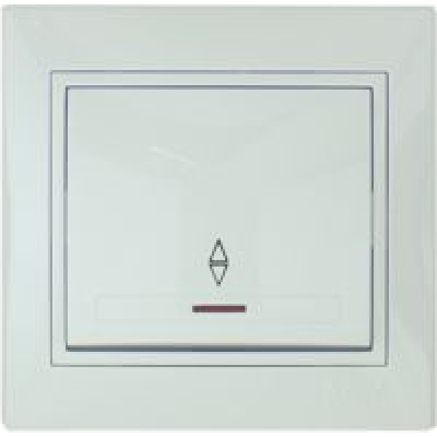 Выключатель проходной с подсветкой Lezard белый