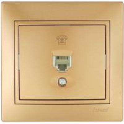 Розетка телефонная (евро) Lezard Mira металик золото